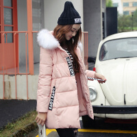 冬季新款中长款连帽女气质淑女修身显瘦棉衣外套
