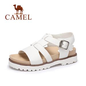 camel骆驼女鞋 2017春夏新款 休闲低跟罗马鞋 一字扣厚底凉鞋