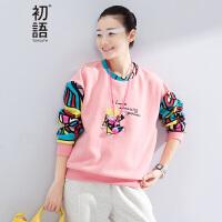 初语   春季新品   卡通印花拼接磨毛抓绒卫衣女8640521805