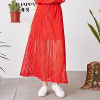 【2件5折】【5.26上新】海贝2017年夏季新款女装 气质松紧高腰蕾丝镂空纯色中长款半身裙