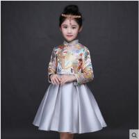 时尚精致刺绣复古立领公主裙演出服长袖加厚儿童礼服裙女童旗袍蓬蓬裙