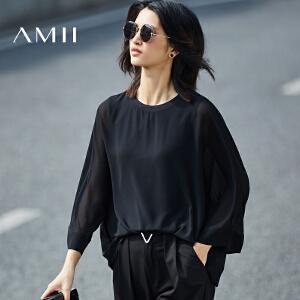 【预售】Amii2017春新宽松罗纹圆领阔袖透视双层雪纺衫11730088
