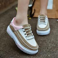 夏季休闲板鞋女低帮潮鞋百搭学生松糕鞋子韩版运动鞋女鞋系带跑鞋