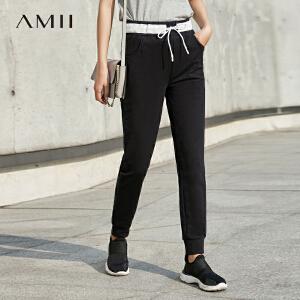 【预售】Amii2017春女新撞色橡筋绑带纯棉运动休闲长裤11730093