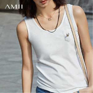 Amii[极简主义]2017新款夏修身显瘦百搭短款无袖吊带背心女外穿