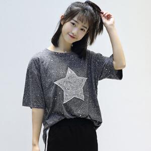 【当当年中庆】2017夏季新款韩版女装宽松显瘦五角星贴布圆领套头短袖T恤女学生