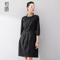 初语冬装大码女装宽松修身显瘦女神的连衣裙女8532422813