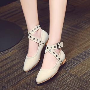 2017年新款春季时尚单鞋百搭平跟优雅女休闲鞋欧美皮带扣平底鞋