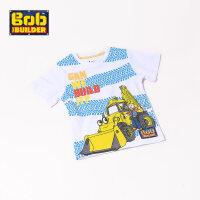 BOB巴布工程师童装男童2017夏款新品时尚圆领纯棉印花短袖上衣T恤