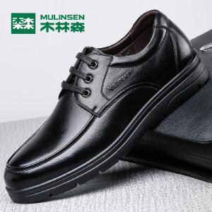 木林森皮鞋男真皮商务休闲鞋英伦2017秋季新款男士皮鞋系带正装男鞋77053111