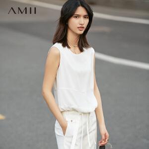 Ami[极简主义]i2017夏女纯色圆领无袖拼接绑腰带大码背心11770869