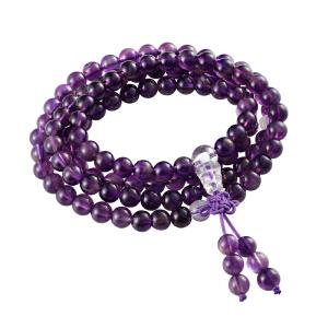 芭法娜 紫丝 天然紫水晶6mm108颗经典时尚手链 可绕手多圈