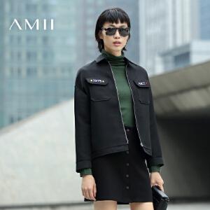 【AMII超级大牌日】[极简主义]2017年春女新撞色数字母刺绣翻领夹克短外套11683250