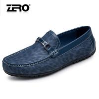 断码特惠Zero零度豆豆鞋春季新款豹纹休闲皮鞋男士日常休闲鞋子男X6136