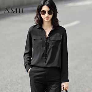 【预售】Amii2017春新时尚翻领半开襟绑带系带雪纺衫女11770210