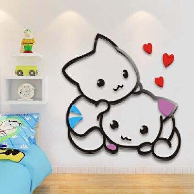 可爱小猫亚克力3d立体墙贴 儿童房卧室床头贴画幼儿园墙面装饰品