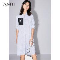 Amii[极简主义]2017夏装新款宽松印花开衩前短后长连衣裙11781360