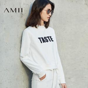 Amii[极简主义] 2017春新直筒罗纹半高领字母绣花短款T恤11780327