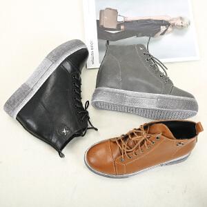 东帝名坊新款复古休闲鞋时尚系带内增高厚底短靴