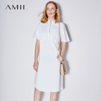 Amii[极简主义]2017夏装新翻领拉链半开襟短袖棉质连衣裙11742744