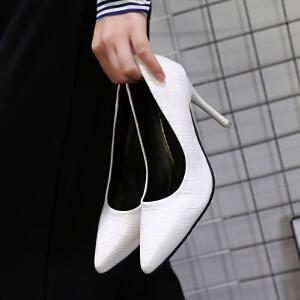 2017春季新款浅口尖头单鞋女细跟时尚韩版高跟鞋女鞋格子OL工作鞋ZR-888