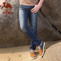 camel骆驼男装 直筒微弹拉链小直角长裤 中高腰青春流行牛仔裤