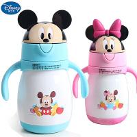 迪士尼米奇米尼双手柄真空304不锈钢保温杯婴幼儿学饮杯宝宝水杯吸管保温杯6011
