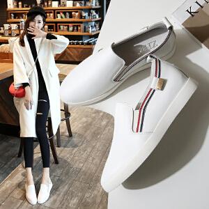 ZHR2017春季新款韩版平底乐福鞋真皮小白鞋女厚底休闲鞋套脚鞋潮M118