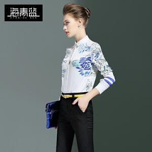海青蓝2017春装新款女潮流时尚印花长袖衬衣OL气质优雅身衬衫6330