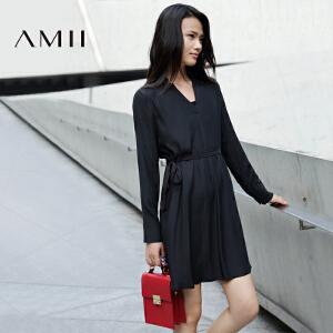 【AMII超级大牌日】[极简主义] 2017年春新款欧美V领中裙腰带衬衫连衣裙女11672049