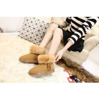 新款加绒加厚雪地靴女羊皮毛一体流苏套筒短筒舒适保暖棉鞋子