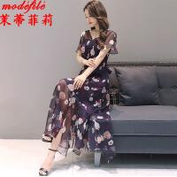 茉蒂菲莉 连衣裙 女式V领印花雪纺长裙夏季新款韩版女装短袖半袖中长款宽松女士沙滩裙子