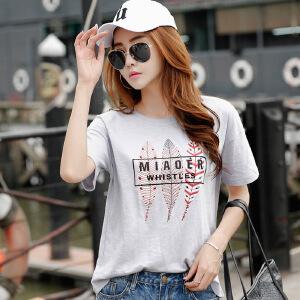 2017韩版女装夏装新款印花bf风宽松上衣棉质大码短袖T恤女学生