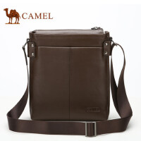 Camel骆驼竖款男士单肩包牛皮斜挎包男商务休闲男版包包青年男包