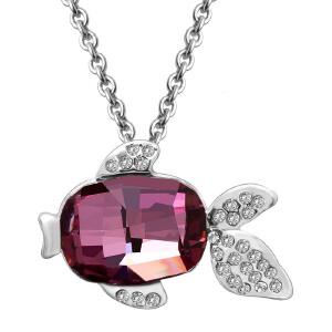 芭法娜 精灵鱼 时尚合金电镀金吊坠 保色吊坠 含链 古典粉红色