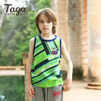 【满200-100】TAGA童装 男童坎肩背心7-8岁儿童时尚条纹上衣棉2017夏季新款6-8-15岁