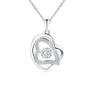 芭法娜 韩款 永恒之心 s925银镶锆石 心形吊坠 会动的锆石