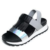 milkroses 复古流苏装饰超酷休闲露趾凉鞋