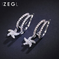 ZENGLIU韩国气质耳环夹款无耳洞女 简约花朵耳坠饰品时尚个性耳钉