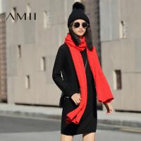 【AMII超级大牌日】[极简主义]2016冬新大码通勤宽松拼接针织立体连衣裙