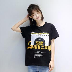 2017夏季新款韩版女装宽松显瘦字母图案印花纯棉短袖套头T恤女