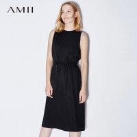 Amii[极简主义]2017夏装新款大码无袖休闲腰带拉链连衣裙11773156