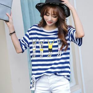 2017韩版宽松女士春夏新款条纹开叉纯棉短袖T恤BB17256