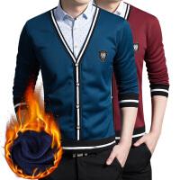 秋冬男士韩版修身假两件衬衫男士加绒保暖衬衫毛衫针织外套衬衣男上衣