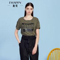 【2件5折】【4.5上新】ihappy/海贝休闲时尚圆领T恤