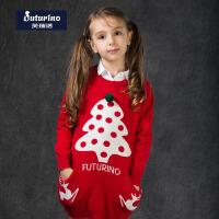 芙瑞诺童装春新款女童毛衣圣诞款打底衫中大童圆领长袖针织衫套头