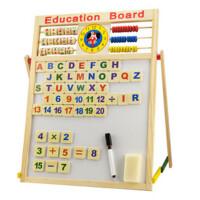 乐乐鱼实木儿童画板画架支架式家用宝宝双面磁性黑白板写字板立式(黑板擦一个,水彩笔一支,粉笔一盒。五个运算符号贴,26个字母贴,20个数字贴)