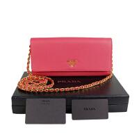 Prada普拉达女士荔枝皮质粉红色链条包 1MT290 玫瑰红色 20*10cm