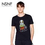 NSNF纯棉手绘卡通人物刺绣黑色短袖T恤 2017春夏新款