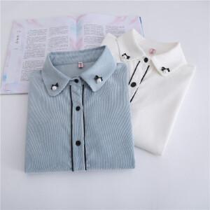【当当年中庆】学院风气质淑女珍珠加厚灯芯绒长袖衬衫女